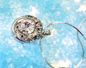 New Fashion Clear Swarovski Crystal Gemstone Jewelry Pendant Rhodium Plated Chain Necklace