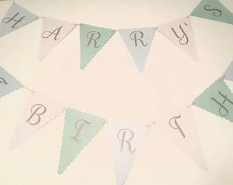 Personalised Birthday Bunting. Happy birthday bunting. Age birthday.
