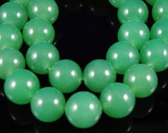 12mm Green Round Jade Beads, 6 pcs