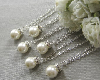 SET of 5  Rhinestone pearl necklace, bridesmaid necklace, bridesmaids necklace custom wedding pearl jewelry white ivory pearl W003