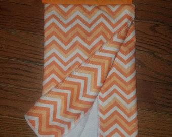 Orange chevron patterned hanging kitchen towel