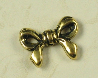 6 Antiqued 22k Gold Plated Pewter Bow Beads Jewelry Findings 409
