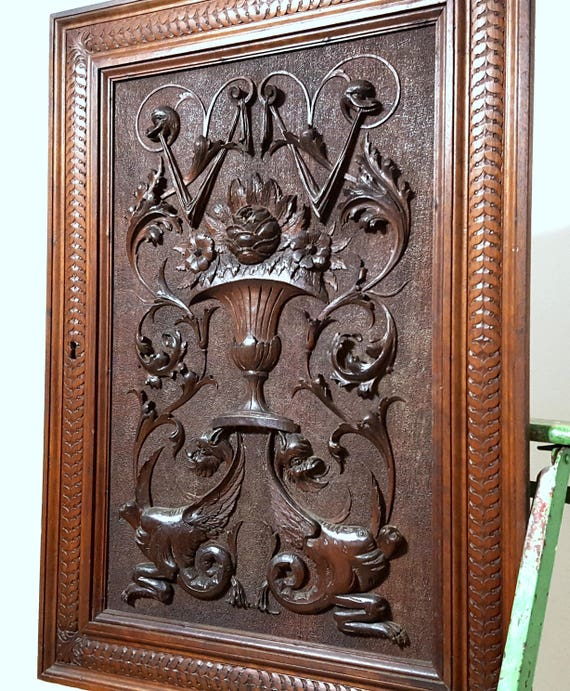 Cabinet Panel Door Antique French Hand Carved Wood Renaissance