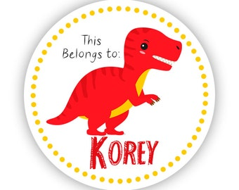 Name Label Stickers - Yellow Red T-Rex Dino, Prehistoric Dinosaur Personalized Name Tag Stickers - Round Tags - Back to School Name Stickers