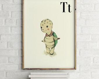 Turtle print, nursery animal print, alphabet cards animals, alphabet letters, abc letters, alphabet print, animals prints for nursery