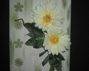 Table with artificial flowers, gerberas 3D floral arrangement, wedding, gift