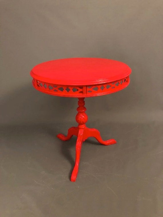 Antique Walnut Red End Table