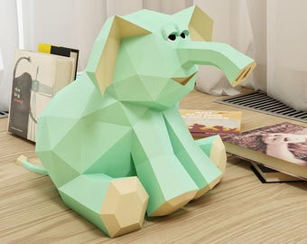 Papercraft Elephant, 3D Paper Craft Toy, DIY Paper project, PDF template kit, How to make paper model sculpture, gift for kids, origami