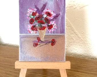 ACEO poppy flower vase  Painting Original Miniature by Hazel Rayfield