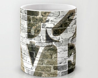 Philly LOVE Ceramic Mug. Photo Art, TMCdesigns. Urban. Brick. Philadelphia. Wedding, Anniversary Gift. Coffee Mug. Graffiti. The LOVE Mug!