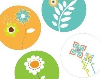Modern Blooms - One (1x1) Inch Round Pendant Images-Digital Sheet- Instant Download -Buy 2 Get 1 Free - Best Of The Seasons