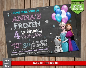 FROZEN Invitation - Disney Frozen chalkboard Invite, Editable Text PDF Birthday Elsa, Anna, Olaf Invitation, Instant Download