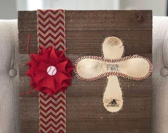 Boutique Wooden Bulap Chevron Baseball Skin Cross Wall Plaque, Perfect for your baseball family home!