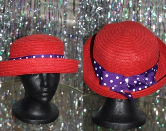 Red Straw Bucket Hat with Purple & White Polka Dot Ribbon *Excellent Condition