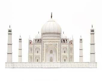 Taj Mahal, paper craft kit for building your own scale model, full color, 20 cm or 8 inches high