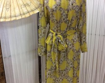 1940's yellow and grey floral semi sheer dress