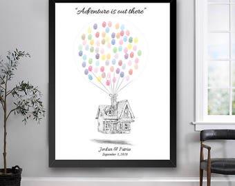 Up Wedding Guest Book Print, Thumbprint, Fingerprint, House, Alternative Guestbook, Wedding, Bridal Shower, Fairytale Wedding, Disney, Sign