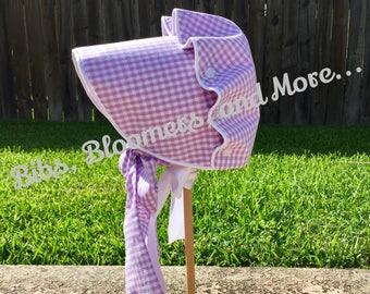Lavender Gingham Button Bonnet