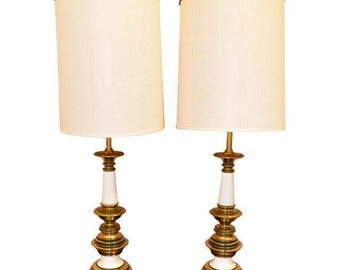 Vintage Hollywood Regency Brass & Porcelain Table Lamps - A Pair