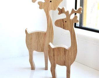 Christmas wooden deer, home Decorations, Winter Holiday Deer, deer toy - Deer Figurine - Gift Of Wood - Waldorf Animals - Eco friendly
