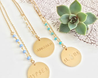 New! // Gold Filled Stamped Beaded Disc Necklace