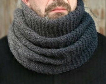 Wool Hooded Scarf | Neckwarmer for men | Ombre Black Cowl Neck, Wool Chunky Snood Knit, Infinity Oversize Men's Scarf, Outdoors-gift For Men