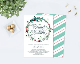 Edit Now Brunch and Bubbly Christmas BRIDAL SHOWER Invitation Template PDF, Winter Bridal Shower, Editable Template, Invite, December Party