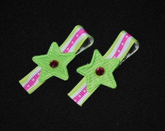 Lime Hot Pink Star No Slip Hair Clips - Buy 3 Items, Get 1 FREE
