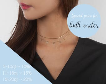 925 Silver - Delicate Star Chain Choker, Sterling Silver Choker, Rose Gold Chain Necklace, Gold Layered Choker, Gift for Woman, Minimalist