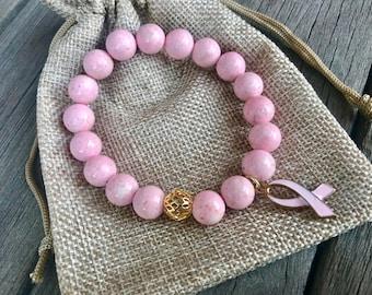 Breast Cancer Bracelet | Survivor | Awareness | Pink Ribbon Charm | Gift | 10mm | Wanderlust |