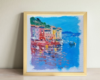 Seaside Village Painting Portofino Italy Painting Cinque Terre Italy Coastal Painting Small Painting Mom Gifts for Women Christmas Gifts