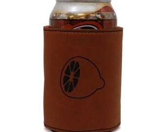 Lemon Leather Can Sleeve, Beer Sleeve, Beer Cooler, Beer Hugger