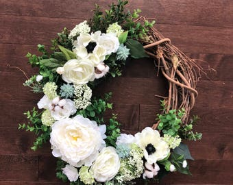Spring Wreath, Summer Wreaths for Front Door, Year Round Wreath, Wreaths for Front Door Year Round, Cotton Wreath, Summer Door Wreath