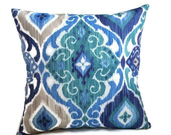 Aqua Blue Brown Indoor Outdoor Throw Pillow Cushion Cover Zippered Chair Patio Pillow Beach Coastal Decor Lumbar Accent Pillow, Chair Sofa