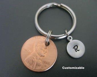 Penny Keychain / Initial Keychain / Lucky Penny Keychain  / Customizable / Handstamped Initial Keychain  / Gift Keychain / Zipper Pull