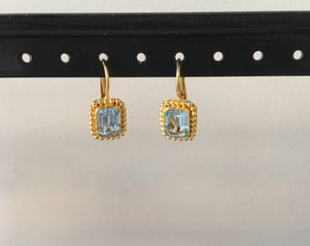 Blue topaz and gold vermeil earring