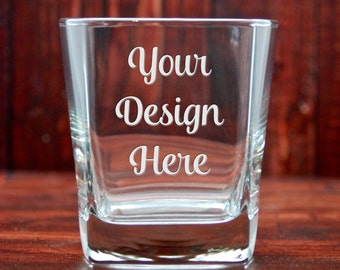 Custom Square Rocks Glass - Personalized Whiskey Glass - Custom Glass Etching - Bourbon Glasses - Engraved Whiskey Glasses - Whiskey Tumbler