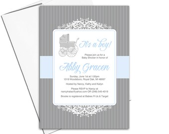 Baby boy baby shower invitations in blue and gray with baby carriage | unique baby shower invite | printable - WLP00763
