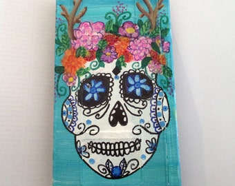 Day of the Dead painting - art on recycled Vhs Tape, sugar skull, gothic wall art, halloween room decor, Rockabilly,