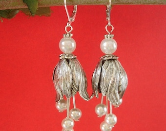 Silver Tulip Pearl Dangle Earrings.