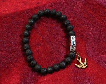 Fly Charm & Lava Stone Bracelet
