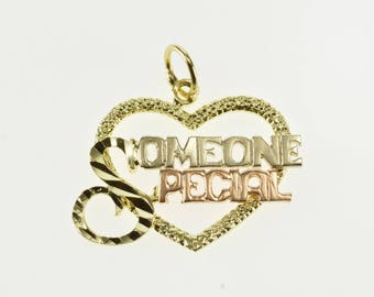 14K Someone Special Textured Heart Two Tone Charm/Pendant Yellow Gold