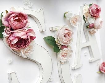 Distressed floral letter, wood floral letter, floral name letter, flower initial, wooden flower letter, baby floral nursery decor and letter
