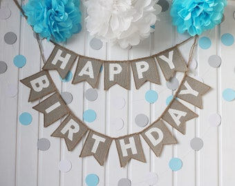 Happy Birthday Banner, Happy Birthday Burlap Banner, Happy Birthday Bunting, Happy Birthday Banner, Birthday Party, Happy Birthday