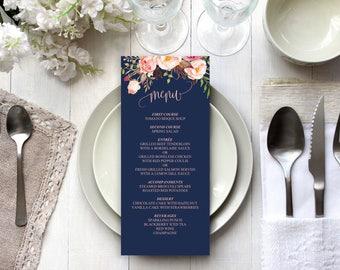 Printable Navy Wedding Menu Template, Editable Pink Floral Menu, 4x9 inch, Vistaprint, DIY Elegant Wedding Menu, Instant Download PDF #103