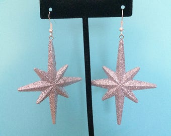 Silver Glitter Star Earrings
