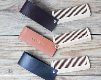 Beard comb in leather case Personalized beard comb Wooden comb