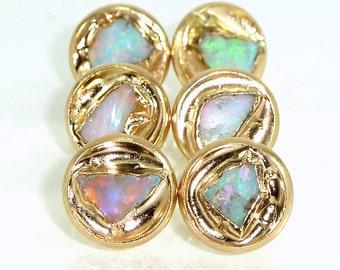 Opal Earrings, Opal, October Birthstone,Raw Opal Earrings,  Raw Opal Stud  Earrings, Opal Studs, Gold Earrings, Raw Crystal ,Gemstone studs.