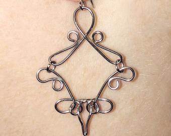 Diamond Shaped Earrings Handmade Wire Earrings, Silver Dangle Earrings, Stainless Steel Earrings, Elegant Silver Earrings