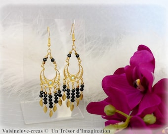 Black and gold boho earrings